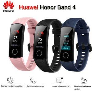 Huawei Honor Band 4 nas cores rosa, preta e azul