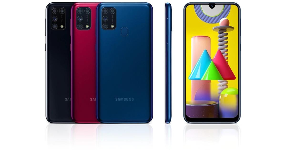 Samsung Galaxy M31 nas cores preta, vermelho e azul